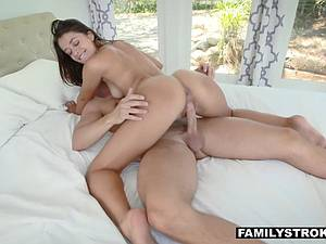 Little sister rides her brother's tasty dick