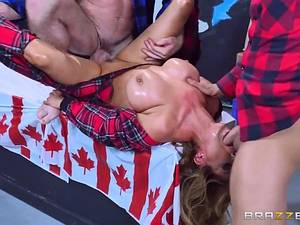 Horny Canadian MILF Kianna Dior takes two hard cocks in live show