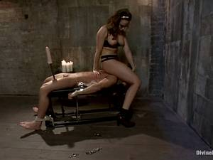 Fetish BDSM porn. Poor laborer and his boss with strap-on