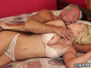 Sienna milking his senior cock