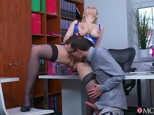 Young programmer fucks his horny mature headmistress Angel Wicky