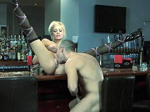 The bartender mixing his cocktail in her pussy