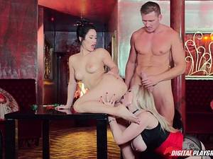 Interracial threesome with a rich gentleman and his Japanese geisha