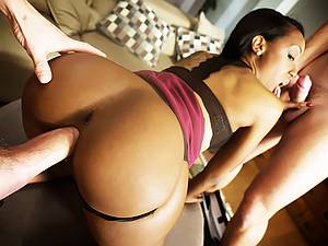 Threesome with naughty young ebony beauty Noemilk and her two friends