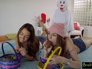 Naughty Easter egg hunt with happy end for disguised stepbrother
