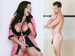 Mature busty latin milf Ariella Ferrera seduces her daughter young groom
