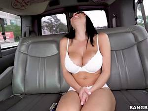 Busty head teacher with glasses takes the pickuper's cock in the car